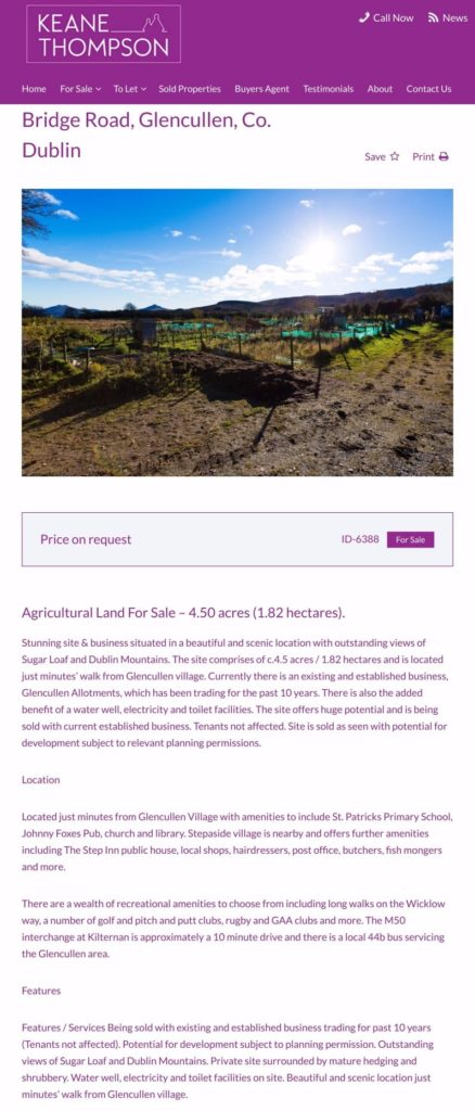Glencullen Allotments For Sale Poster
