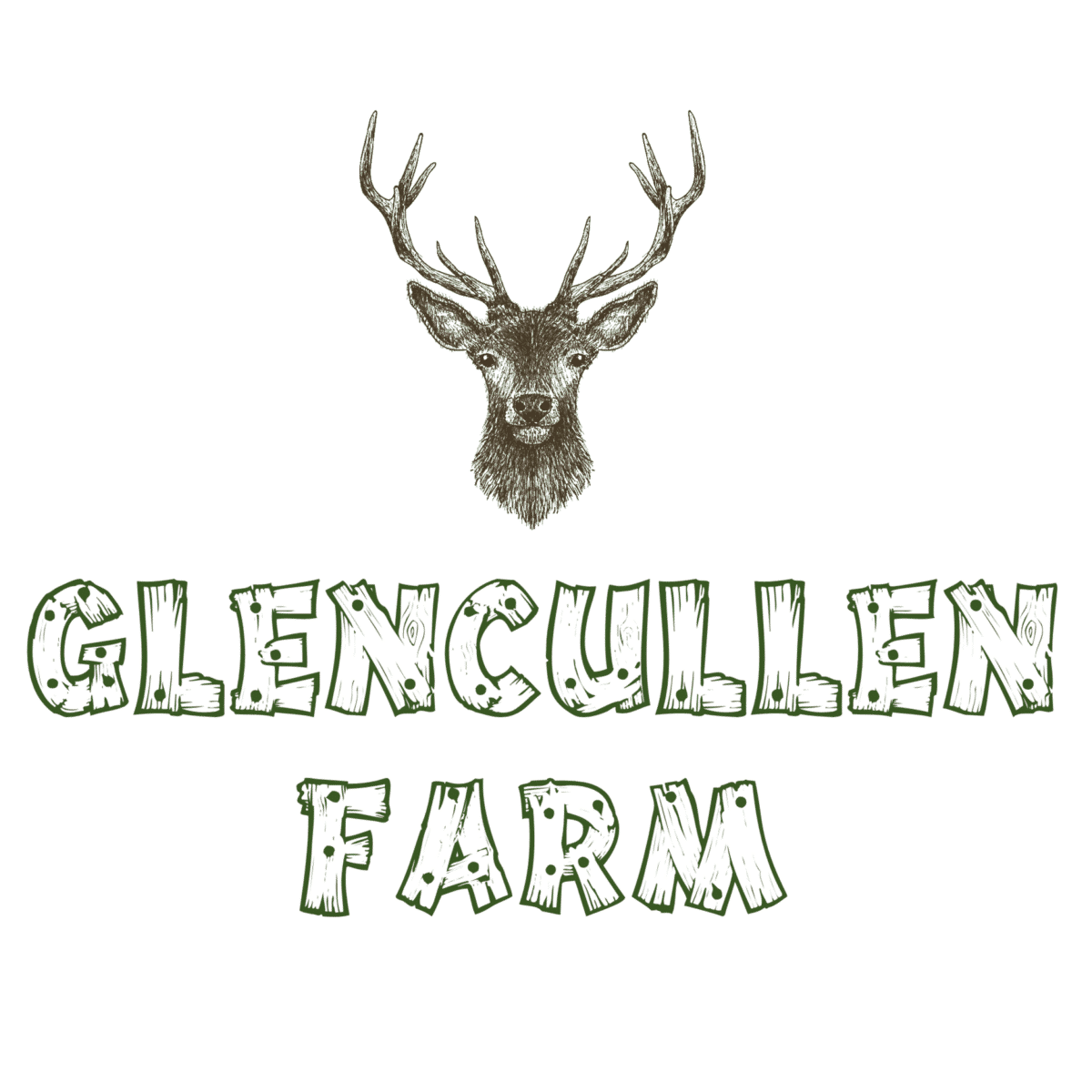 Glencullen Farm Holly Wood Giant Irish Deer Logo